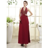 Sheath Halter Floor-Length Chiffon Mother of the Bride Dress With Beading (008015452)