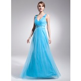 A-Line/Princess V-neck Floor-Length Satin Tulle Prom Dress With Ruffle Beading (018021131)