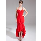 Trumpet/Mermaid Sweetheart Asymmetrical Chiffon Mother of the Bride Dress With Beading Cascading Ruffles