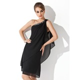 Sheath/Column One-Shoulder Knee-Length Chiffon Cocktail Dress With Beading (016021244)
