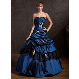 Duchesse-Linie Herzausschnitt Bodenlang Taft Quinceañera Kleid (Kleid für die Geburtstagsfeier) mit Rüschen Perlen verziert Applikationen Spitze Blumen Pailletten