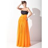 Empire-Linie Trägerlos Watteau-falte Chiffon Spitze Kleid für die Brautmutter mit Rüschen