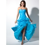 A-Line/Princess Sweetheart Floor-Length Organza Prom Dress With Ruffle Beading Split Front Cascading Ruffles