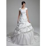 Corte de baile Escote redondo Tren de la catedral Satén Vestido de novia con Encaje Bordado Lentejuelas Lazo(s)