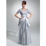 A-Line/Princess Square Neckline Floor-Length Charmeuse Mother of the Bride Dress With Ruffle Lace