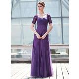 A-Linie/Princess-Linie Schatz Bodenlang Tüll Kleid für die Brautmutter mit Rüschen Perlen verziert Pailletten