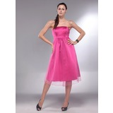 A-Line/Princess Strapless Knee-Length Satin Satin Maternity Bridesmaid Dress With Ruffle
