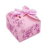 Floral Design Cuboid Card Paper Favor Boxes (Set of 12)