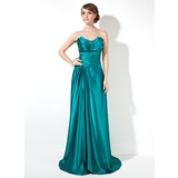 Sheath/Column Scalloped Neck Sweep Train Charmeuse Prom Dress With Ruffle Beading (018002473)