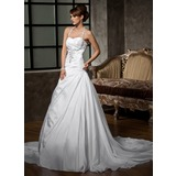 A-Line/Princess Halter Court Train Taffeta Wedding Dress With Ruffle Beading Sequins