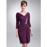 Sheath/Column V-neck Knee-Length Chiffon Mother of the Bride Dress With Ruffle Beading