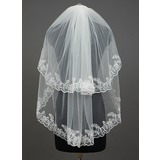 Two-tier Elbow Bridal Veils With Lace Applique Edge (006034400)