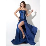 A-Line/Princess Sweetheart Court Train Taffeta Prom Dress With Ruffle Beading Split Front