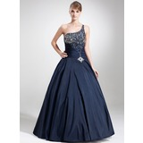 Ball-Gown One-Shoulder Floor-Length Taffeta Quinceanera Dress With Beading Sequins (021020793)