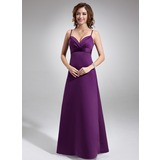Empire Sweetheart Floor-Length Satin Bridesmaid Dress With Ruffle