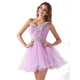 A-Line/Princess One-Shoulder Short/Mini Tulle Homecoming Dress With Ruffle Lace Sequins (022020900)