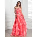 A-Linie/Princess-Linie Trägerlos Bodenlang Organza Quinceañera Kleid (Kleid für die Geburtstagsfeier) mit Bestickt Perlen verziert Pailletten Gestufte Rüschen