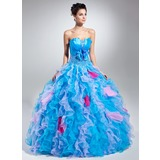 Ball-Gown Scalloped Neck Floor-Length Organza Charmeuse Quinceanera Dress With Beading Flower(s) (021015050)