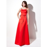 A-Line/Princess Sweetheart Floor-Length Satin Prom Dress With Beading (018002818)