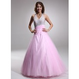 A-Line/Princess Halter Floor-Length Satin Tulle Quinceanera Dress With Ruffle Beading Sequins (021004662)