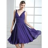 A-Line/Princess V-neck Knee-Length Chiffon Bridesmaid Dress With Ruffle Beading Sequins