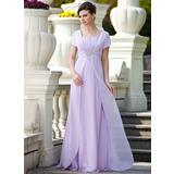 A-Linie/Princess-Linie Rechteckiger Ausschnitt Bodenlang Chiffon Kleid für die Brautmutter mit Rüschen Perlen verziert Pailletten