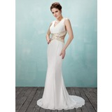 Mermaid V-neck Sweep Train Chiffon Prom Dress With Beading (018021086)