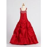 A-Line/Princess Floor-length Flower Girl Dress - Taffeta Sleeveless Sweetheart With Ruffles/Beading/Pick Up Skirt