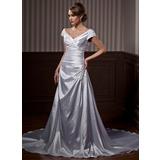 Vestidos princesa/ Formato A Sem o ombro Tribunal Trem Charmeuse Vestido de noiva com Pregueado Renda Bordado