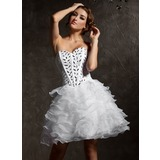 A-Line/Princess Sweetheart Knee-Length Organza Satin Homecoming Dress With Ruffle Beading (022007289)