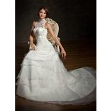 A-Line/Princess High Neck Chapel Train Organza Satin Lace Wedding Dress With Ruffle Beading