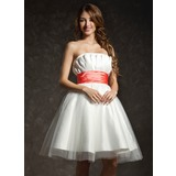 Empire Scalloped Neck Knee-Length Taffeta Tulle Homecoming Dress With Ruffle Sash (022021027)