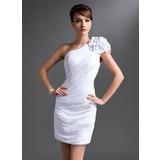 Etui-Linie Eine Schulter Kurz/Mini Chiffon Kleid für die Brautmutter mit Rüschen Blumen