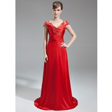 A-Line/Princess V-neck Sweep Train Charmeuse Lace Evening Dress With Ruffle Beading