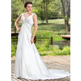Empire V-neck Court Train Charmeuse Wedding Dress With Ruffle Beadwork (002011454)
