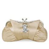 Elegante Seda con Cristal / Diamante/Bordado Bolso Claqué