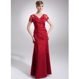 Mermaid V-neck Floor-Length Satin Mother of the Bride Dress With Lace Beading (008005754)