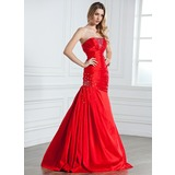 Mermaid Strapless Floor-Length Taffeta Evening Dress With Ruffle Beading (017021070)
