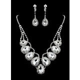 White Rhinestone Ladies' Jewelry Set Including Necklace And Earrings(011012946)