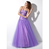 Ball-Gown Sweetheart Floor-Length Taffeta Tulle Prom Dress With Ruffle Beading