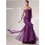 Mermaid Strapless Floor-Length Organza Prom Dress With Ruffle (018014441)