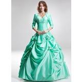 Duchesse-Linie Herzausschnitt Bodenlang Taft Quinceañera Kleid (Kleid für die Geburtstagsfeier) mit Rüschen Perlen verziert Blumen