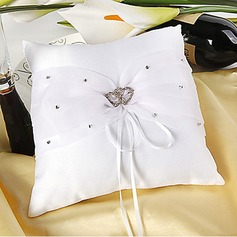 Ring Pillow In White Satin With Rhinestones Double Hearts(103018248)
