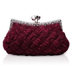 Burgundy Gorgeous Backfin Satin Shell With Rhinestone Evening Bag Handbag Purse Clutch (012005565)