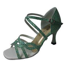 De mujer Brillo Chispeante Tacones Danza latina con Tira de tobillo Hebilla Zapatos de danza