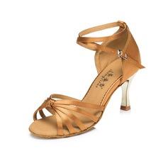 De mujer Satén Tacones Sandalias Danza latina con Tira de tobillo Hebilla Zapatos de danza