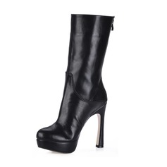 Leatherette Chunky Heel Platform Boots Mid-Calf Boots shoes