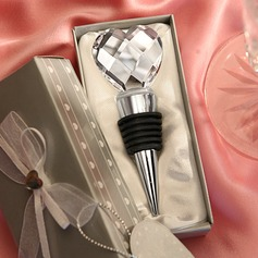 Chrome Bottle Stopper with Crystal Heart Design (052016783)