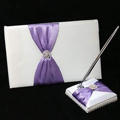 Chic Wedding Guest Book And Pen Set In Satin With Lilac Sash And Rhinestone(101018132)
