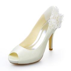 Women's Satin Stiletto Heel Peep Toe Pumps With Flower